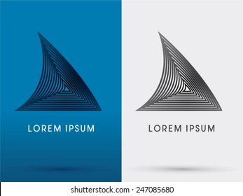 Shark's fin, designed using line , triangle shape, look like modern architecture, logo, symbol, icon, graphic, vector.