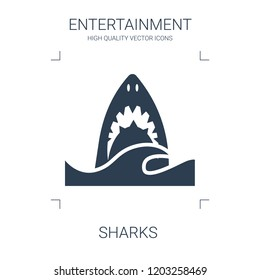 sharks icon. high quality filled sharks icon on white background. from entertainment collection flat trendy vector sharks symbol. use for web and mobile