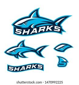 Sharks logo, emblem for a sport team.