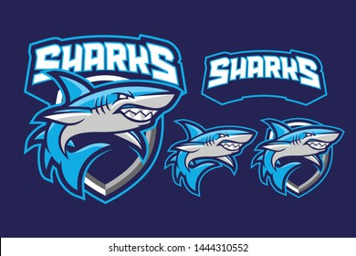 Sharks mascot sport / e-sport style isolated on dark blue background