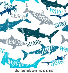 Sharks silhouettes seamless pattern. Urban pattern. Pattern with abstract shark symbols, design elements. Can be used for invitations, greeting cards, scrapbooking, print, textile, manufacturing.