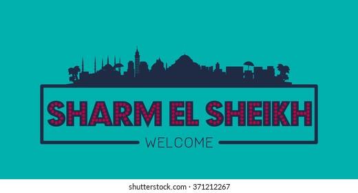 Sharm el Sheikh city skyline typographic illustration vector design