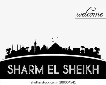 Sharm el Sheikh skyline silhouette black vector design on white background.