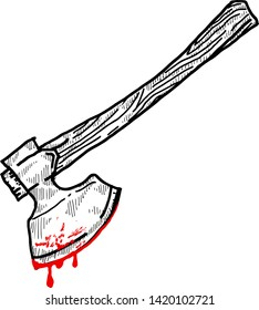 A sharp axe with blood dripping from its blade. Hand drawn vector illustration.