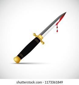 sharp bloody dagger knife isolated vector illustration EPS10