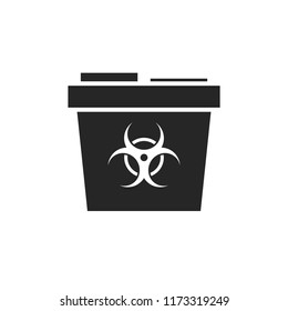 Sharp container simple silhouette. Medicine waste clipart isolated on white background