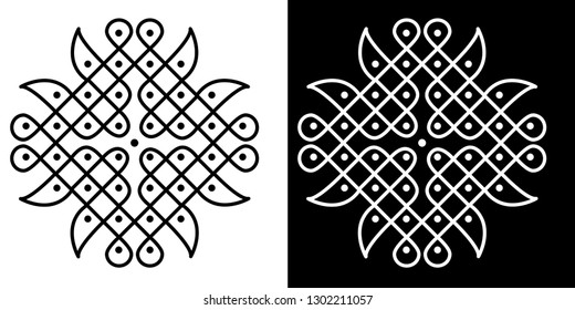 Sharp Corner, Dots, Circles and Lines - Indian Traditional and Cultural Rangoli, Alpona, Kolam or Paisley Vector Line art with Dark and White Background