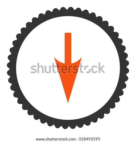 Sharp Down Arrow Round Stamp Icon Stock Vector Royalty Free