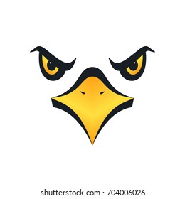 Sharp eyed eagle face on white background. Vector illustration.
