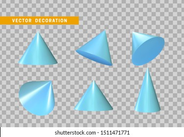 Sharp geometric cone cast volumetric. Set 3d Geometric Shapes Objects. Realistic geometry elements, color blue gradient. Render Decorative figure for design. vector illustration