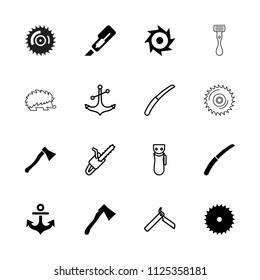 Sharp icon. collection of 16 sharp filled and outline icons such as blade saw, cutter, axe, gardening knife, axe weapon, saw. editable sharp icons for web and mobile.