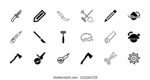 Sharp icon. collection of 18 sharp filled and outline icons such as pencil, saw blade, electric saw, axe weapon, knife. editable sharp icons for web and mobile.