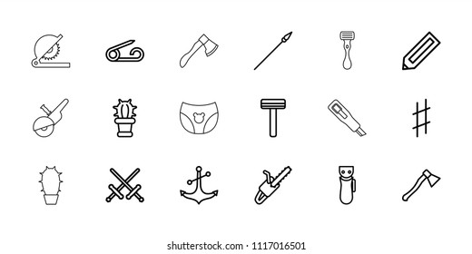 Sharp icon. collection of 18 sharp outline icons such as pencil, pin, electric razor, razor, sword, chain saw, anchor, cactus, spear. editable sharp icons for web and mobile.