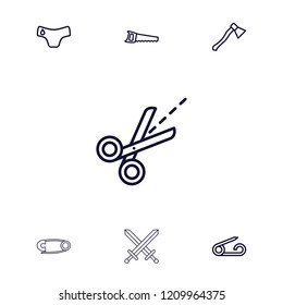 Sharp icon. collection of 7 sharp outline icons such as pin, children panties, saw, scissors, axe weapon. editable sharp icons for web and mobile.