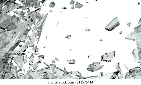 Sharp pieces of smashed glass on white
