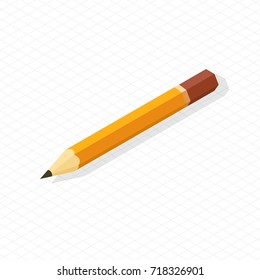 Sharp simple pencil school related icon vector illustration isolated on checkered background in realistic design, drawing pen