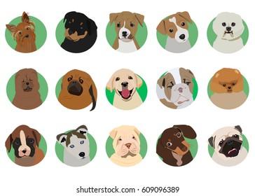 Sharpay, jack russell terrier, chow chow, pomeranian, husky, bichon frise, buldog, pekingese, rottwelier, dachsund, boxer, english bulldog, staffordshire terrier. Dogs, icon, logo, symbol.