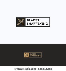 Sharpening service logo. S letter sharpening beige gray logotype. Knife silhouette tool sharpening template
