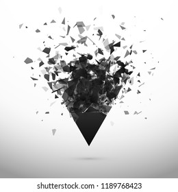 Shatter and destruction dark triangle. Explosion effect. Abstract cloud of pieces and fragments after explosion. Vector illustration isolated on gray background