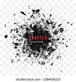 Shatter and destruction effect. Abstract cloud of pieces and fragments after explosion. Vector illustration isolated on transparent background