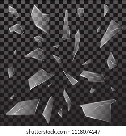 Shattered and broken glass pieces. Isolated on black transparent background. Vector illustration