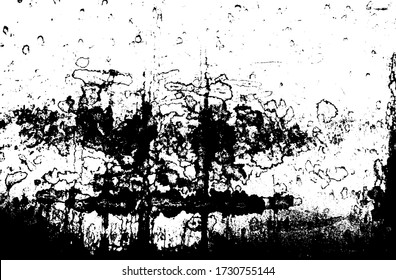 Shattered covering, peeling painted wall. Flaked facade coating of furniture. Coarse worn grunge of exterior background. Uneven stained wet surface of mdf panel. Retro liquid texture map for 3d design