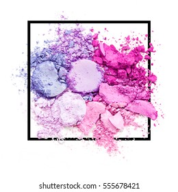 Shattered Eyeshadow. Makeup logo. Broken. Smashed. Illustration vector over square frame. Makeup logo. Concept for beauty salon, cosmetics label, cosmetology procedures, visage. Empty space for Text.