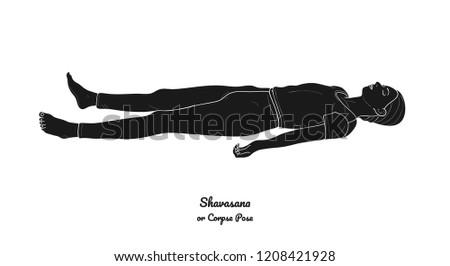 shavasana corpse pose yoga practice vector stock vector royalty