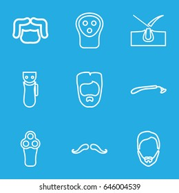 Shave icons set. set of 9 shave outline icons such as mustache, electric razor, razor, shave hair in skin