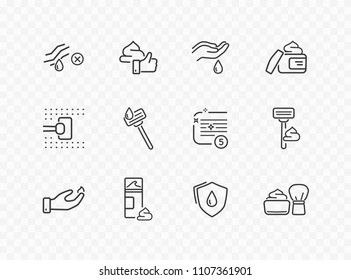 Shave line icon set isolated on transparent background. Care skin, shaving tools, foam, face cream signs. Mousse, gel, drop icons. Vector outline stroke symbols for your design.