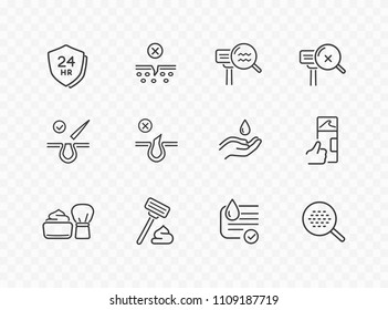 Shave line icon set isolated on transparent background. Men care skin, shaving tools, foam, moisturizing face cream signs. Mousse, gel, drop icons. Vector outline stroke symbols for your design.