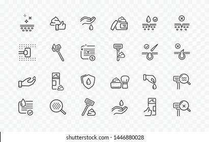 Shave line icon set isolated on transparent background. Care skin, safety razor, shaving tools, foam, face cream sale signs. Vector outline stroke icons.