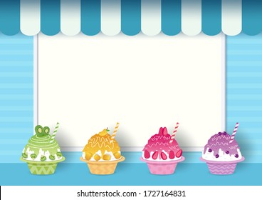 Shaved ice vector design on blue background and frame