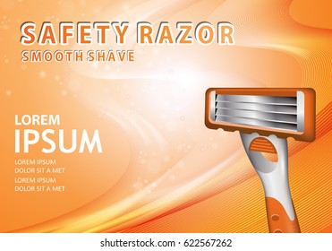 Shavers with four blades on wavy background.New flexible safety razor.Special light orange background.For web,advertising,marketing.Also useful for poster,flyer,leaflet and placard.Smooth shave