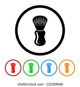 Shaving Brush Icon with Color Variations