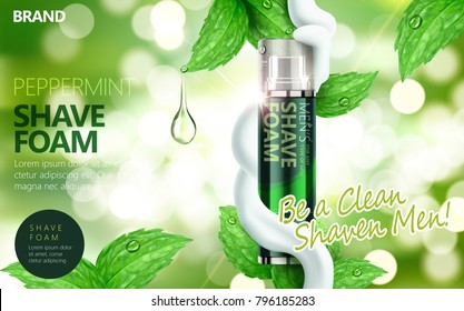 Shaving foam ads, green spray bottle with leaves and foams isolated on bokeh background in 3d illustration