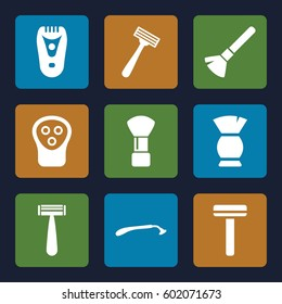 shaving icons set. Set of 9 shaving filled icons such as razor, shaving brush, electric razor