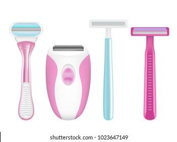 Shaving razor mockup set. Vector realistic illustration of color electric shaver and manual shaving razors for women for silky smooth skin.