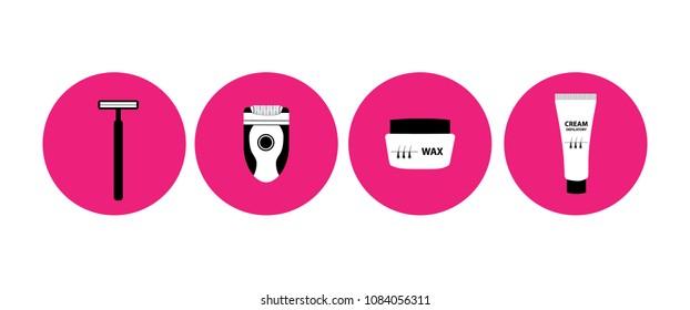 Shaving , wax , depilatory cream and epilator icons vector illustration