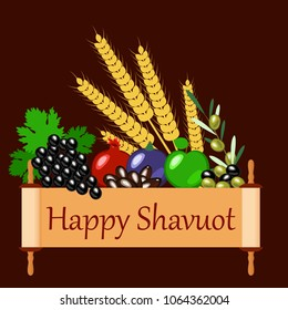 Shavuot. Concept of Judaic holiday. Apple, pomegranate, figs, grapes, olives, dates, wheat ears. Sefer Torah. Brown background
