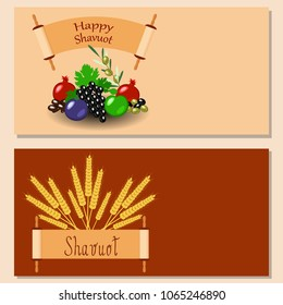 Shavuot. Concept of Judaic holiday. Flyers for event participants. Apple, pomegranate, figs, grapes, olives, dates, wheat ears. Sefer Torah