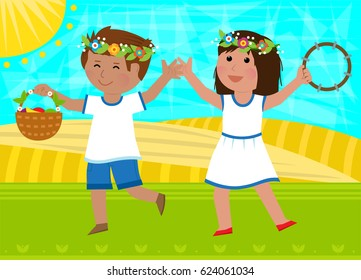 Shavuot Dance - Boy holding basket and a girl with tambourine are dancing in the field. Eps10