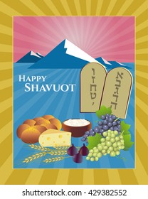 Shavuot Festival greeting card design vector template. Greeting Happy Shavuot. Torah Tablets with Hebrew letters for 10 commandments. Traditional dairy food, fruit, bread & stalks. Layered, editable