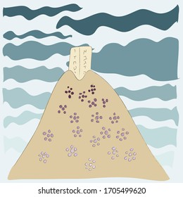 Shavuot - Jewish holiday. Vector drawing of Mount Sinai and the tablets.