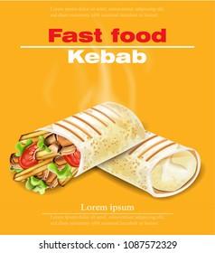 Shawarma Kebab fast food Vector. Detailed illustrations