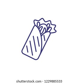 Shawarma line icon. Lavash, pita, dinner, roll. Street food concept. Vector illustration can be used for topics like snack, fast food, lunch