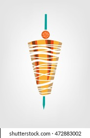 Shawarma meat on a skewer with orange fruit on top icon. Editable Clip Art.