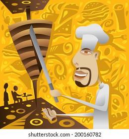 Shawarma Restaurant Chef, Food, Donar, Kebab, Gyros, Sandwich, Abstract Caf�© and Cafeteria (vector Art)