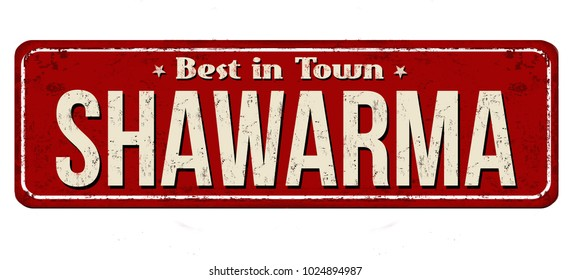 Shawarma vintage rusty metal sign on a white background, vector illustration