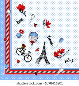 Shawl, bandanna, pillow, scarf. Square pattern. Paris symbols scarf design. Romantic travel in Paris. Magnolia blossom. Embroidery design. Tourism souvenir. Eiffel Tower. Polka dot.